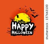 happy halloween background with ... | Shutterstock .eps vector #157663100