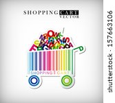 abstract vector shopping cart... | Shutterstock .eps vector #157663106
