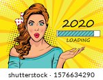 waiting for new year. blonde... | Shutterstock .eps vector #1576634290