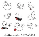 set of faces with a crooked eye ... | Shutterstock .eps vector #157663454