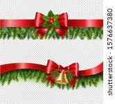 christmas red ribbon and fir...   Shutterstock .eps vector #1576637380