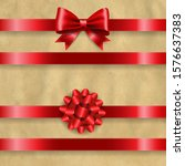 silk red bow set and retro...   Shutterstock . vector #1576637383