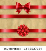 silk red bow set and retro...   Shutterstock .eps vector #1576637389