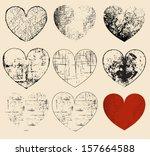 set of grunge hearts. vecor...