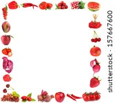 frame of fruits and vegetables... | Shutterstock . vector #157667600
