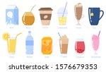 Beverages, drinks set. Milk pack, soda can, glass of juice, cup of coffe and tea and etc. Non-alcoholic beverages. Healthy lifestyles. Isolated vector flat illustration