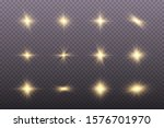 set of golden glowing lights... | Shutterstock .eps vector #1576701970