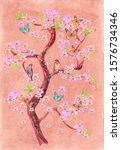 Drawing Of Blossom Tree With...