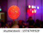 Close up at red air balloon and ...