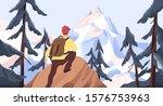 mountain hiking flat vector...   Shutterstock .eps vector #1576753963