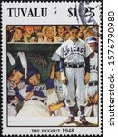 Small photo of Milan, Italy - November 09, 2019: Illustration on baseball by Norman Rockwell on stamp