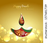 vector diwali golden paisley... | Shutterstock .eps vector #157681739