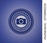 photo camera icon inside denim... | Shutterstock .eps vector #1576840210