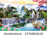 View Of Mountain With Waterfall ...