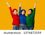 Victory. Positive Multiethnic...