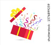 opened gift box with yellow bow ... | Shutterstock .eps vector #1576899259