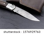 damascus steel knife on black... | Shutterstock . vector #1576929763