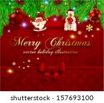christmas greeting card.... | Shutterstock .eps vector #157693100