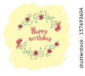 birthday card with flowers on a ... | Shutterstock .eps vector #157693604