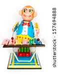vivid tin toy  wind up monkey... | Shutterstock . vector #157694888