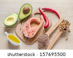 food with unsaturated fats | Shutterstock . vector #157695500