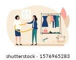 atelier work concept. a female... | Shutterstock .eps vector #1576965283