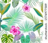 vector tropical jungle seamless ... | Shutterstock .eps vector #1576977589