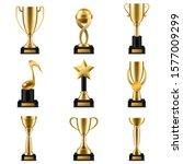 trophy cup. realistic golden... | Shutterstock .eps vector #1577009299