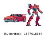 Red Robot Transformer  Cartoon...