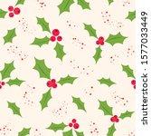 holly berry vector seamless... | Shutterstock .eps vector #1577033449