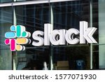Small photo of Oct 26, 2019 San Francisco / USA - Slack Technologies, Inc. sign at their HQ in SOMA district; Slack (its main product) is a cloud-based set of collaboration software tools and online services