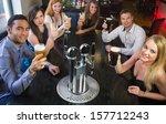 attractive friends raising... | Shutterstock . vector #157712243