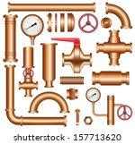 copper pipeline elements | Shutterstock .eps vector #157713620