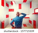 caucasian man and 3d red... | Shutterstock . vector #157715339