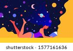 modern flat character. woman... | Shutterstock .eps vector #1577161636