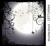 halloween background. full moon ... | Shutterstock .eps vector #157719044