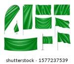 green rectangular flag set... | Shutterstock .eps vector #1577237539