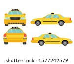 set of yellow taxi car view on... | Shutterstock .eps vector #1577242579