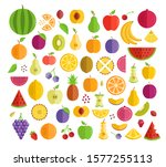 set of fruits. flat design.... | Shutterstock .eps vector #1577255113
