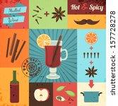 mulled wine design set. vector...   Shutterstock .eps vector #157728278