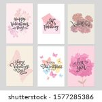 set of valentine themed hand... | Shutterstock .eps vector #1577285386
