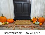 Pumpkins On Front Steps Of Home ...