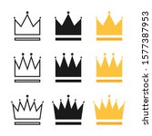 crowns collection. crown in... | Shutterstock .eps vector #1577387953