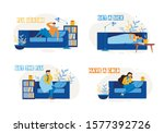 sick people characters on sofa... | Shutterstock .eps vector #1577392726
