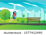 a woman is running while... | Shutterstock .eps vector #1577412490