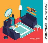 isometric cleaning composition... | Shutterstock .eps vector #1577591059
