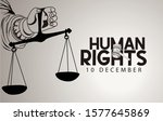 human rights day with hand on... | Shutterstock .eps vector #1577645869