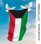 Kuwait Flag Carried By White...
