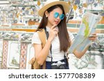 young female happy travel open... | Shutterstock . vector #1577708389