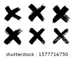 hand drawn set of cross brush... | Shutterstock .eps vector #1577716750